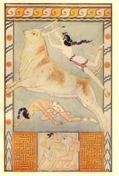 The Bull-Baiters by John Duncan, 1917, from Myths of Crete and Pre-Hellenic Europe by Donald A. Mackenzie: Bull Dance, Donald O'Connor, Duncan 1917, Bull Bait, John Duncan, Pre Hellen Europe, Duncan Scottish, Prehellen Europe, Greek Crete Minoan