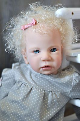 Reborn Adorable Curly Blonde Hair Blue Eyed Baby Girl Was