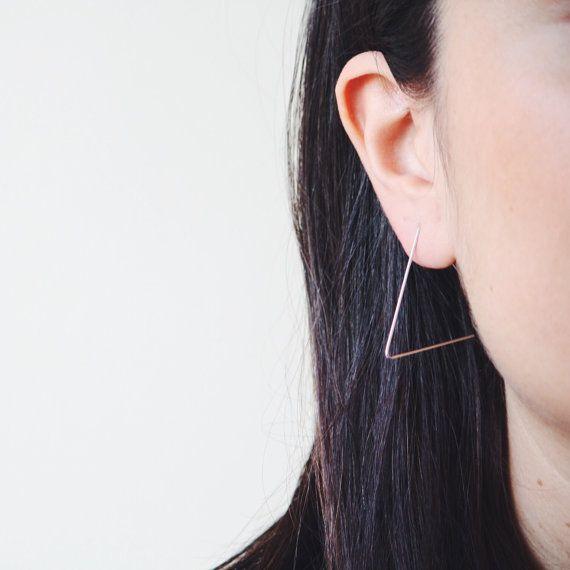 Everyday earrings triangle hoops open hoop earrings nickel
