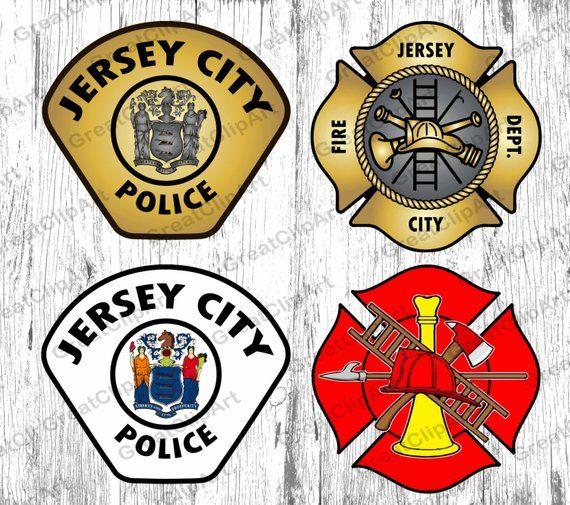 4 New Jersey Police Badge Clipart New Jersey City Fire Etsy Clip Art Custom Nursery Art Police Badge