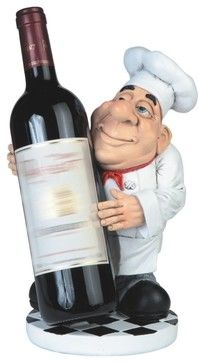 11 Inch Chef in White Uniform Figurine with Wine Bottle Holder midcentury-wine-racks