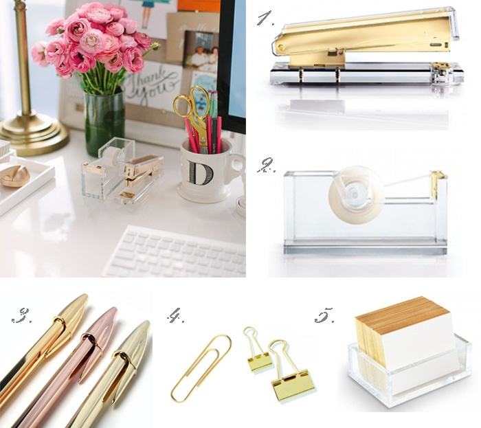 Gold desk accessories Small Office space Pinterest