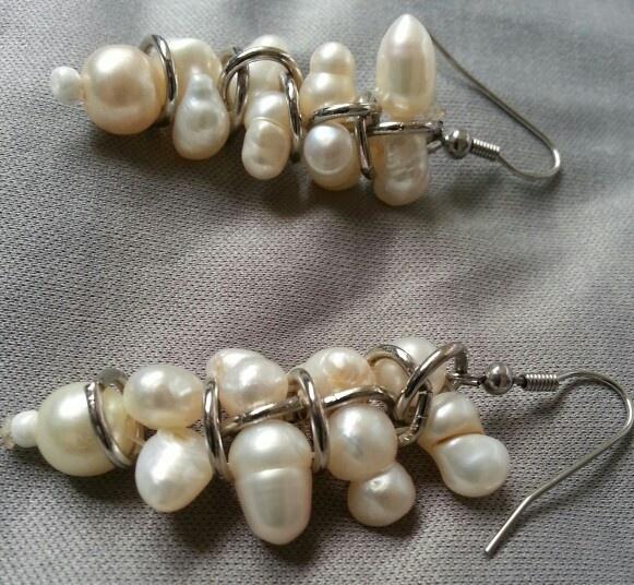 Aretes perlas con plata