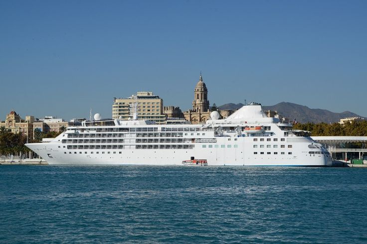 White cruise ship in Malaga port