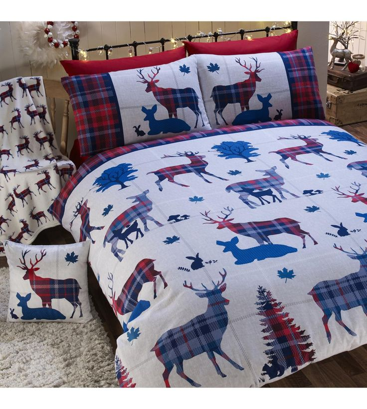 image for stag brushed cotton flannelette duvet set from studio christmas festive bedding with reindeers flannelette setsbed