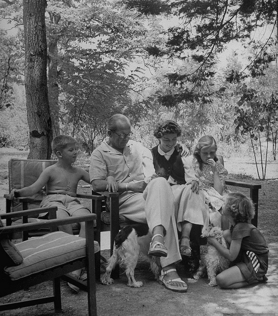 The Greek Royal Family (1947). King Paul of Greece and his wife Frederika of Hanover with their three children. Prince Constantine, future King of Greece, Princes Sophia, future Queen of Spain, and Princess Irene.