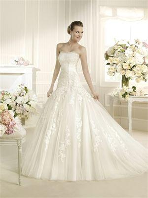 Romantic Sweetheart Sweep Train Lace Tulle Wedding Dress WD1099