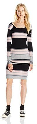 Derek Heart Juniors' Long-Sleeve Midi Sweater Dress - Shop for women's Sweater - Black/pink Sweater