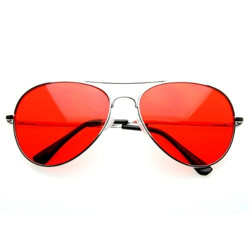 zeroUV - Colorful Premium Silver Metal Aviator Glasses with Color Lens Sunglasses (Red)