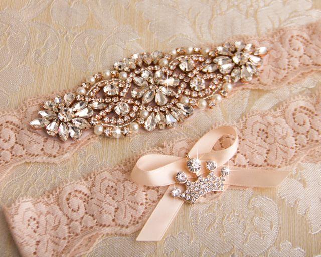 Blush wedding garter set with rose gold crystal applique.