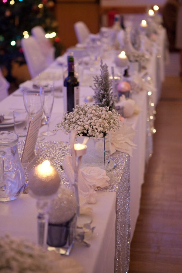 245 best wedding table decoration images on pinterest wedding silver white sequin glamorous winter wedding wedding table decorationswedding junglespirit Images