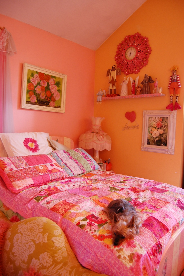 40 best pink/pink & orange girls bedrooms images on pinterest