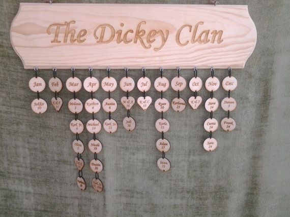 Family All Occasion Engraved Calendar  Never by PinkTreeCreation, $75.00