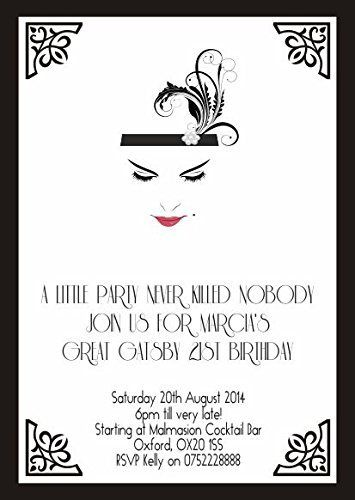 10 x Personalised Birthday Evening Invitations or Thank you Cards Great Gatsby Vintage Art Deco, http://www.amazon.co.uk/dp/B016QJXJD8/ref=cm_sw_r_pi_awdl_woNMwb1BY8P9G