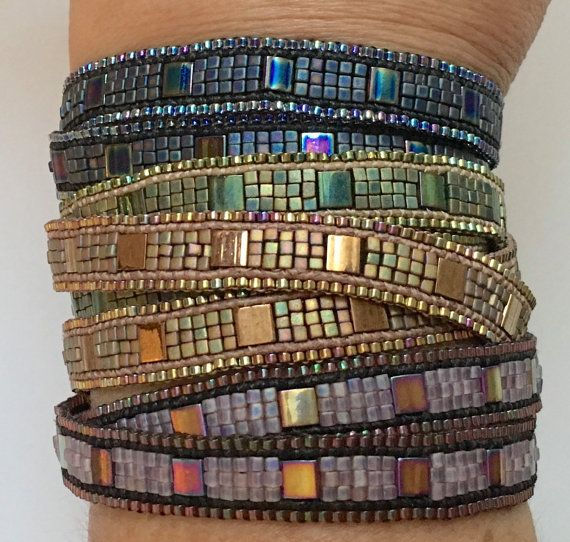 ***this listing is for the instructions only*** ***kits available separately*** The Cobblestone bracelet is different from other wrap bracelets- it is sleek, sophisticated, and yet a bit rustic. It has a bit of shimmer to it, and uses beads that add a lot of interest to the finished piece- you are sure to collect many compliments when wearing your bracelet! This fun wrap bracelet is easy enough for an enthusiastic beginner. It is not a hard project, it just takes a bit of time. The more ...