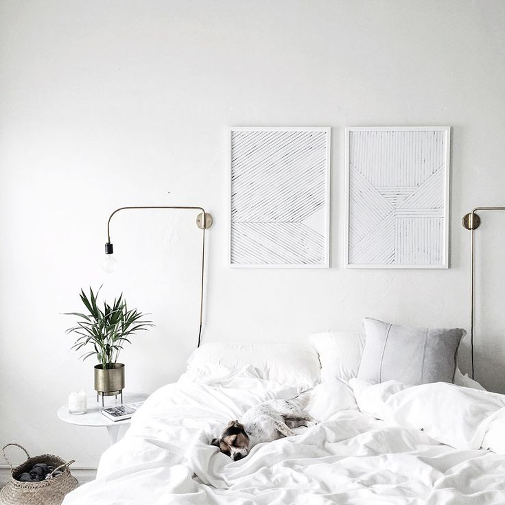 LOVE LOVE this BR by @homeyohmy.  The artwork being subdued just adds to the white yuminess thats this room!!! #allwhitedecor #bedroomdecorinspiration