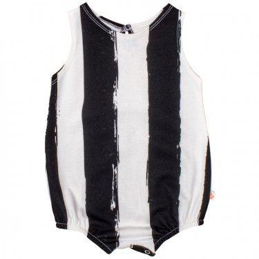 noé & zoë puffy romper – black xl stripes