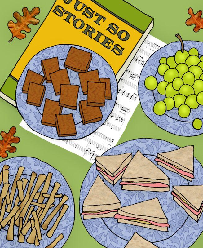 #emmabrownjohn #newdivision #illustration #digital #line #stylised #food #sandwich #biscuits #grapes #textured