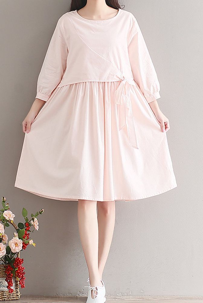 Women loose fitting over plus size pastel pink dress bow ribbon pregnant chic #Unbranded #dress #Casual