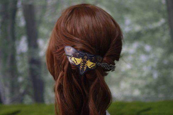 Barrette à cheveux papillon tête de mort en automne en cuir Vegan