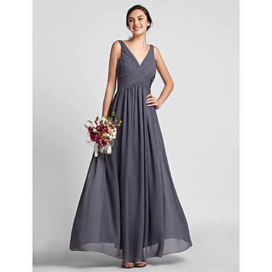 Lanting+Bride®+Floor-length+Chiffon+Bridesmaid+Dress+-+Sheath+/+Column+V-neck+Plus+Size+/+Petite+with+Draping+/+Criss+Cross+–+USD+$+89.99