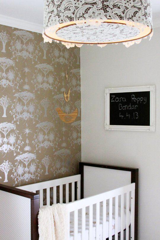 Nursery wallpaper paper : Nursery idea for light fixture