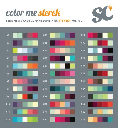 bilesandthesourwolf:   Especially designed for the Sterek Week and inspired by the 100 Palette Challenge, here's the COLOR ME STEREK that you can use anytime you want, however you want to. Have fun! All color palettes by colourlovers.com  Alright guy! This is the theme for Tuesday! I am taking prompts! Please message me a color number, a song/quote that reminds you of Sterek to give me some inspiration, and if you want a gifset or an edit!