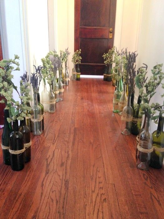 outdoor wedding aisle decor wine bottle - Google Search