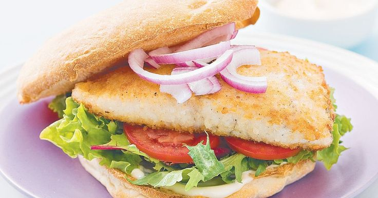 Spicy crumbed fish and lemon aioli are the perfect burger combination for a weeknight meal.