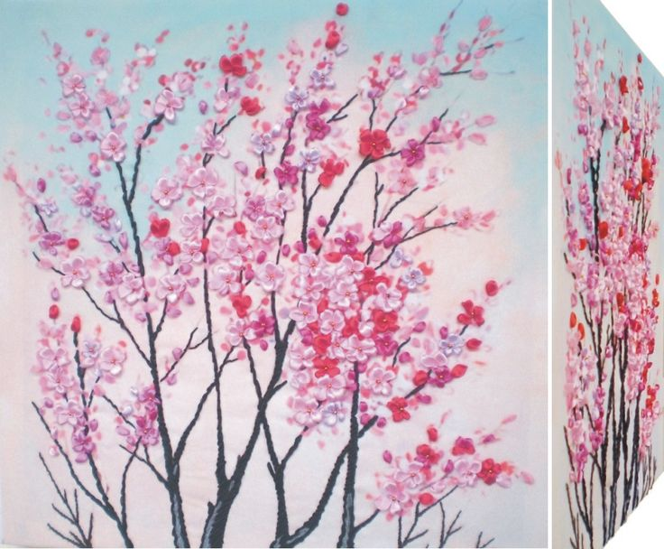 PINK PLUMS 3D Ribbon embroidery on printed canvas with back woodden frame size: cm. 45x45 Price: € 115,00 $ code: P011