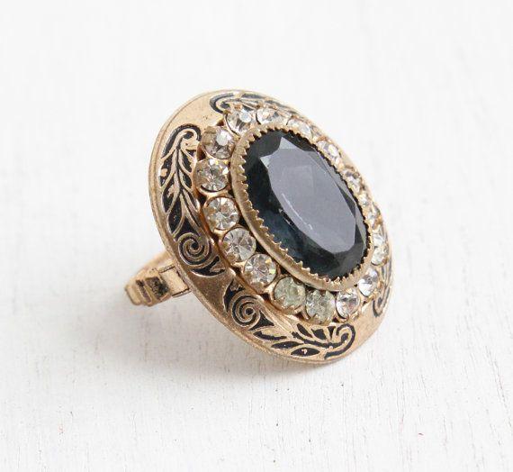 vintage sapphire blue black enamel brass ring
