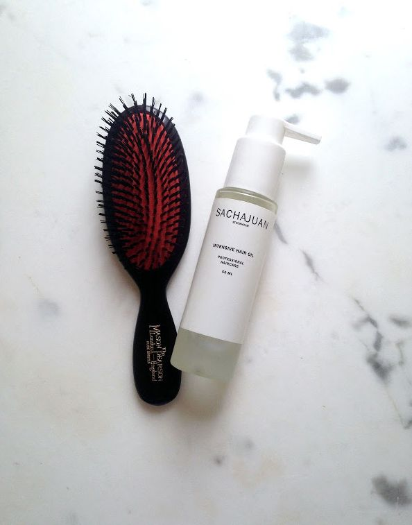 Brush from MASON PEARSON, and intensive hair oil from SACHAJUAN are perfect items to get that perfect slicked back pony-tail. See more on The Wall at www.elin-kling.com