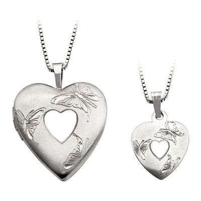 Zales Mother and Daughter Matching Hand Print Heart Locket and Pendant Set in Sterling Silver