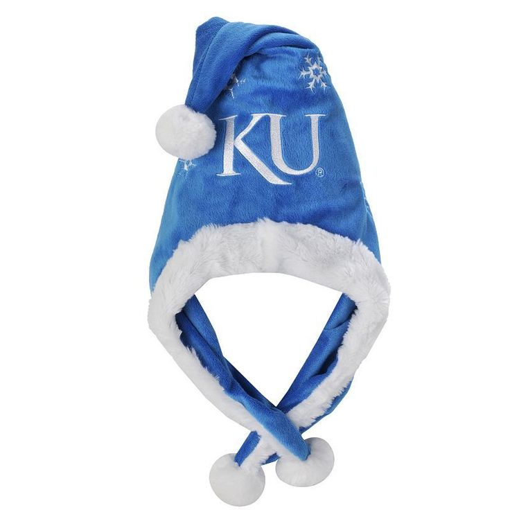 Adult Forever Collectibles Kansas Jayhawks Thematic Santa Hat, Blue