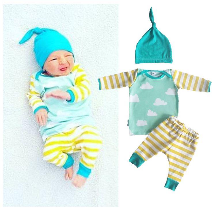 newborn infant Boy Girl Stripe Long Sleeve T-shirt Pants 3pcs Baby Outfits Set Clothes