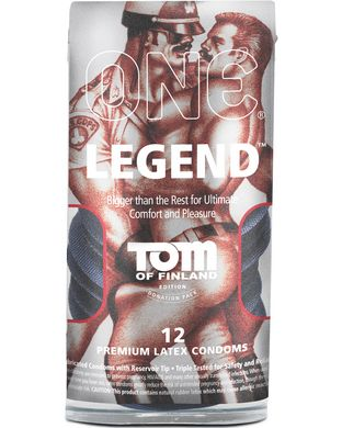 One-Tom of Finland Legend-Lubricated Condoms-12 Pack-Big plans for tonight? ONE Legend allows larger-sized men to reach their peak performance-ONE has also ensured a secure fit in the middle so you can push your sexual limits with confidence. Made with an advanced latex formula called Sensatex (TM), ONE condoms are softer, smoother, clearer, and purer, providing a more pleasurable experience for both partners…