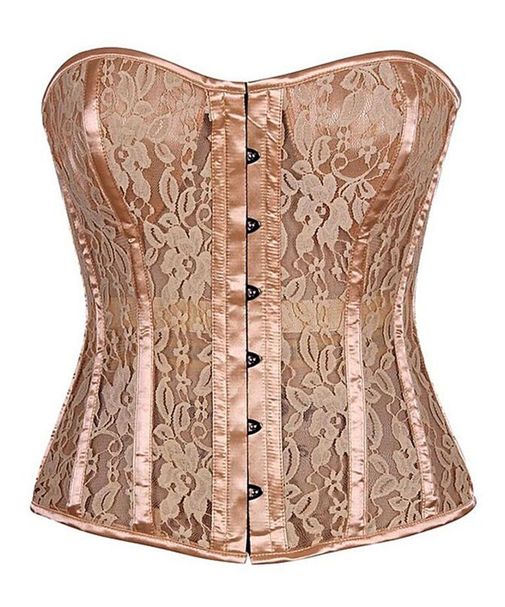 Take a look at this Tan Satin & Lace Steel-Boned Top Drawer Corset - Plus Too today!