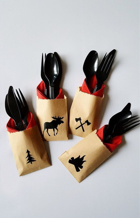 Cutlery Bags Lumberjack Party Lumberjack Baby Shower