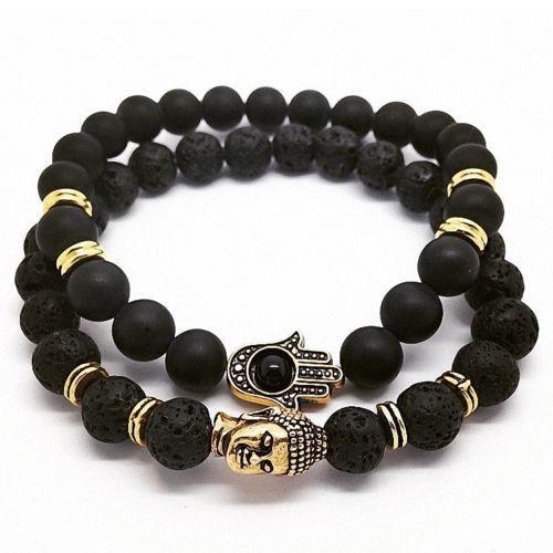 Lava Bead Energy Bracelets (set)