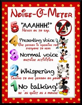 For the Disney lover, this Noise-o-Meter makes being aware of volume fun! Remind your class to be like Mickey Mouse! :) This high-quality download was designed to be printed as a poster or a mini poster.