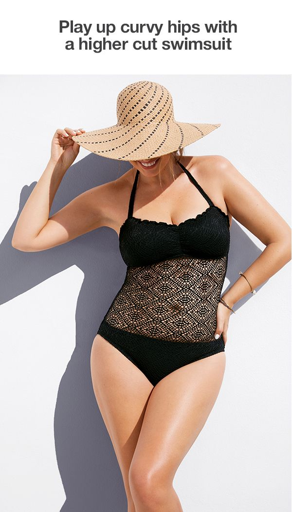 Show off your shape with a swimsuit that highlights curves, but smooths things out as well. Featuring a higher cut, this Mossimo one piece flatters around the hips while adding visual volume up top with a cute crochet peekaboo element.