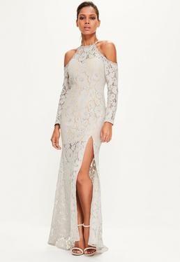 Grey Lace Cold Shoulder Maxi Dress