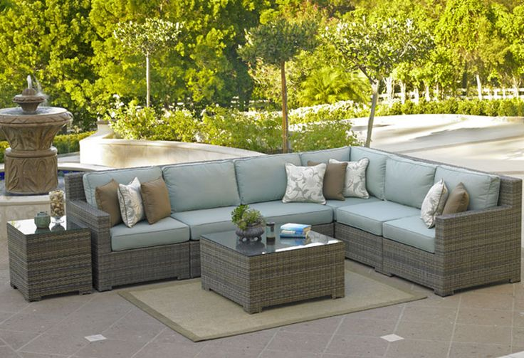 Chicago wicker malibu collection florida patio for Malibu outdoor sectional sofa