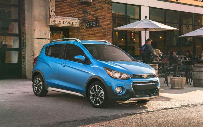 Download wallpapers Chevrolet Spark, 2018, 4k, urban hatchback, new Spark, blue, American cars, Chevrolet