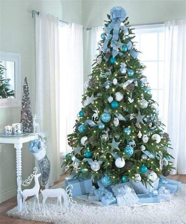 Pastel Blue Balls And Reindeers Used For Decorating Tree At Home Silver Christmas Tree Decorations Silver Christmas Tree Blue Christmas Tree