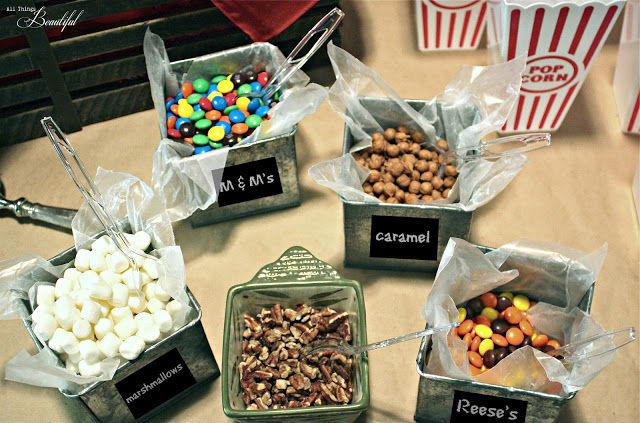 {Popcorn Bar} Teen Birthday Party - love this idea! Everyone gets a bowl and can fill it with whatever they want
