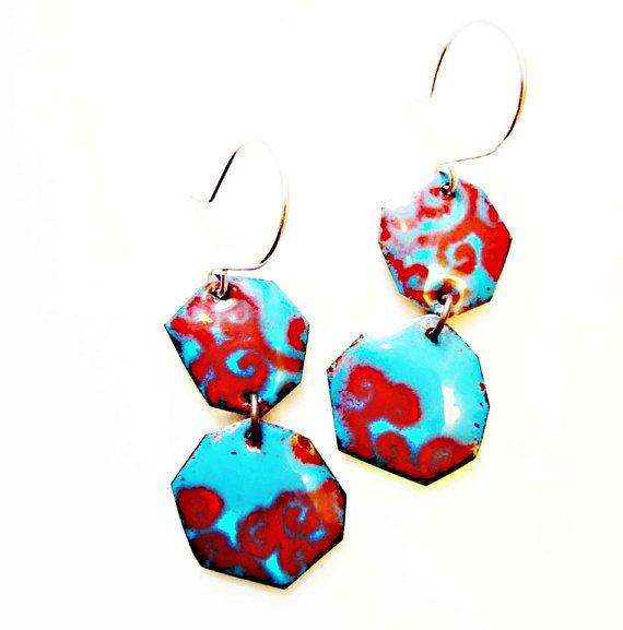 Enamel on Copper Earrings, Irregular Hexagon, Kiln-Fired Glass Enamel, Sterling Ear Wire, OOAK, Colorful Modern, Brocado Earrings