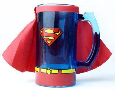 Superman Animation Caped Glass Beer Mug Stein.