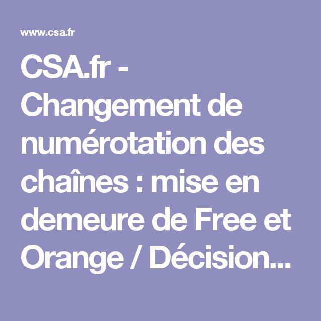 CSA.fr - Changement de numérotation des chaînes : mise en demeure de Free et Orange / Décisions du CSA / Espace juridique / Accueil