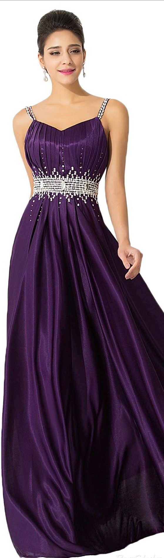 SUNVARY ¤ In Royal Purple Long Flowing Skirt w. Beaded Waist Bund w. Star at Stomach & Spaghetti Straps & Clean Halter Top of Formal Gown ¤ Suggested Price: $65.69 – $95.69 USD ¤ Color: Purple (others may be available) ¤ See Dress Availability: (AMAZON).